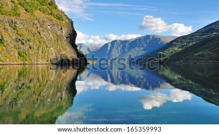 Scenic view of Fjord in Flam, Norway - stock photo