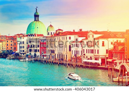 Scenic view of Grand Canal in Venice, Italy. Filtered image. - stock photo