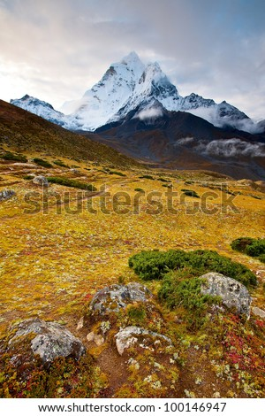 Scenic view of Himalaya mountains - stock photo