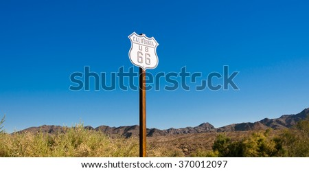 Scenic view of historic Route 66 sign - stock photo