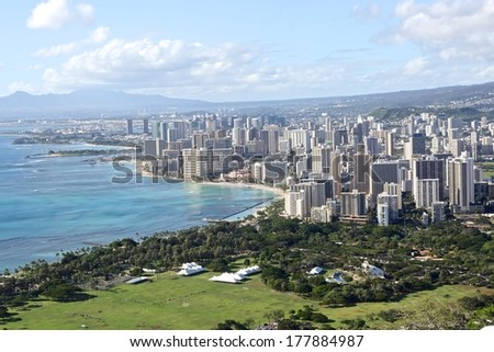 Scenic view of Honolulu city from Diamond Head and Waikiki Beach; Hawaii, USA - stock photo