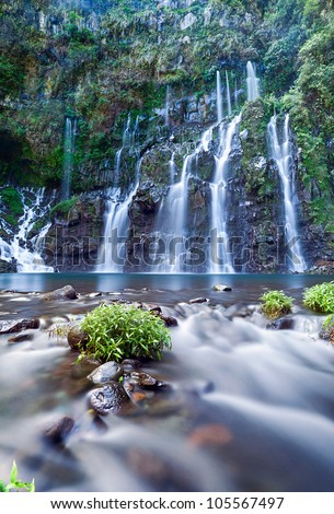 Scenic view of Langevin Waterfall on Reunion Island with slow motion blur. - stock photo
