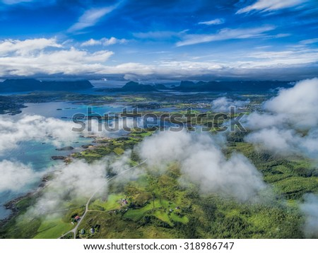 Scenic view of Leknes area on Lofoten islands in Norway - stock photo
