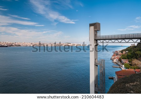 Scenic view of Lisbon with modern Elevator to Statue of Christ, Portugal. - stock photo
