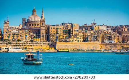 scenic View of Marsamxett Harbour and Valletta in Malta - stock photo