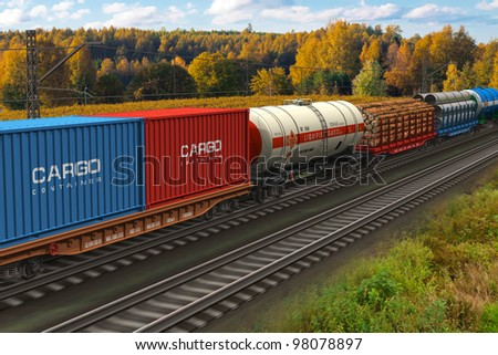 Scenic view of mixed freight train within rural landscape - stock photo