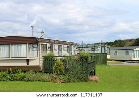 Scenic view of modern trailers in caravan park, Cayton Bay, Scarborough, England. - stock photo