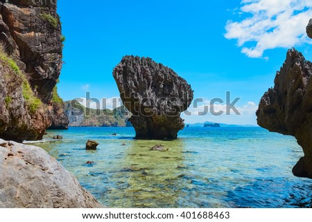 Scenic view of mountain islands and tropical sea bay, Palawan, Philippines - stock photo