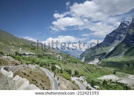 scenic view of mountain valley - stock photo