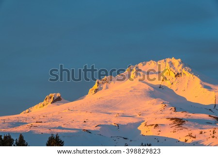 scenic view of Mt. Hood   National Forest when sunset.Portland,Oregon,usa. - stock photo