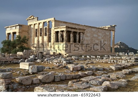 Scenic view of Parthenon Temple, Acropolis, Athens, Greece - stock photo