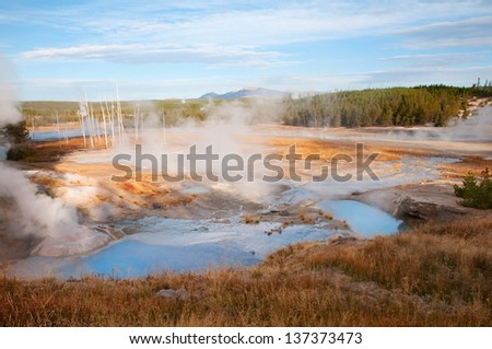 Scenic view of Porcelain Basin in Yellowstone National Park, Wyoming. - stock photo