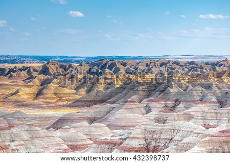 Scenic view of Rock formations in Badlands National Park, South Dakota, USA in the day light