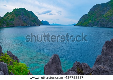 Scenic view of sea bay and mountain islands, El Nido, Palawan, Philippines - stock photo