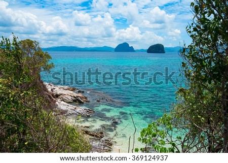 Scenic view of sea bay and rock islands, Palawan, Philippines - stock photo