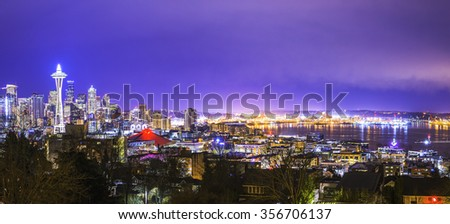 scenic view of Seattle cityscape at night in the winter ,panorama,Seattle,Washington,USA. - stock photo
