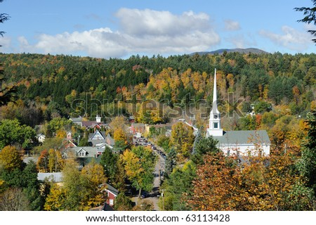 Scenic view of Stowe in Vermont - stock photo