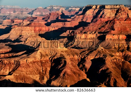 Scenic view of sunrise in Grand Canyon national park, Arizona, USA - stock photo