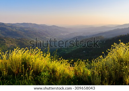 scenic view of sunset mountains at Peneda-Geres National Park in northern Portugal. - stock photo