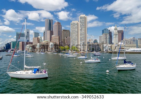Scenic view of the Boston skyline as seen from the Bay, Massachusetts, USA - stock photo