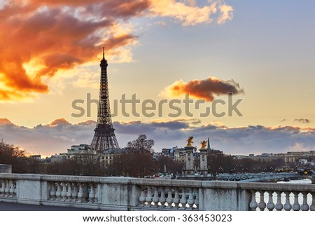 Scenic view of the Eiffel tower at sunset, Paris, France - stock photo