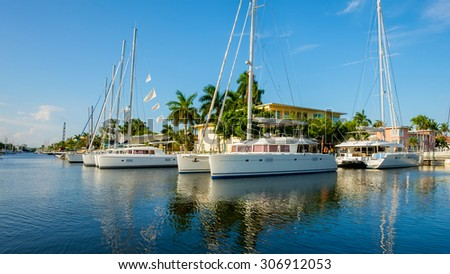 Scenic view of the Fort Lauderdale Intracoastal Waterway along Las Olas Boulevard. - stock photo