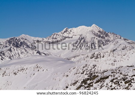 Scenic view of the glaciers viewed from Blackcomb mountain - stock photo