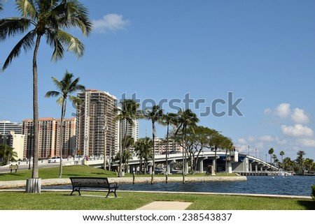 Scenic view of the intracostal waterway and bridge in Fort Lauderdale Florida - stock photo