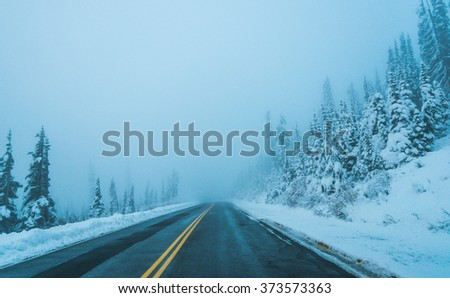 scenic view of the road in the  forest  with snow covered in dusk time. - stock photo