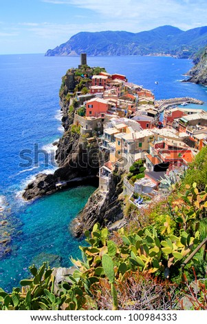 Scenic view of the village of Vernazza, Cinque Terre, Italy - stock photo