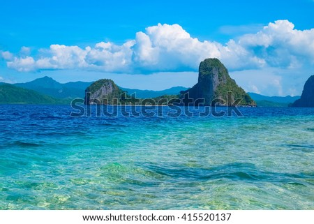 Scenic view of tropical sea bay and mountain islands, El, Nido, Palawan, Philippines - stock photo