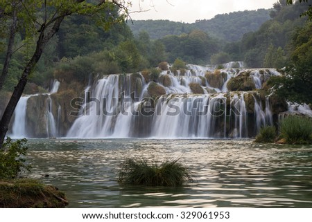 Scenic view of waterfalls and cascades at the Krka National Park in Croatia. - stock photo