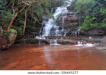 scenic view of wild mystical waters at Sommersby Falls, Gosford, New South Wales, australia, rainforest jungle scene - stock photo