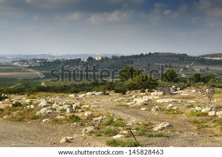 Scenic View on Agricultural valley, Monastery of the Silent Monks at Latrun and Suburbs of Tel-Aviv, Israel - stock photo
