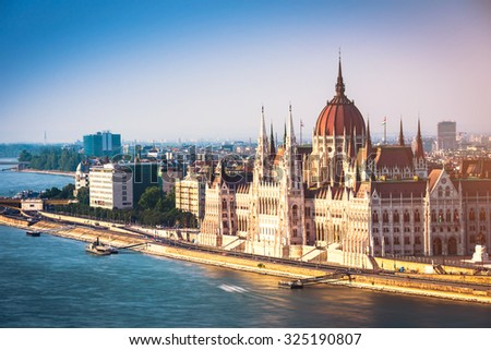 scenic view on Parliament in Budapest from bastion - stock photo