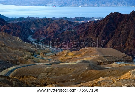 Scenic view on the mountains and Red Sea near Eilat, Sinai - stock photo