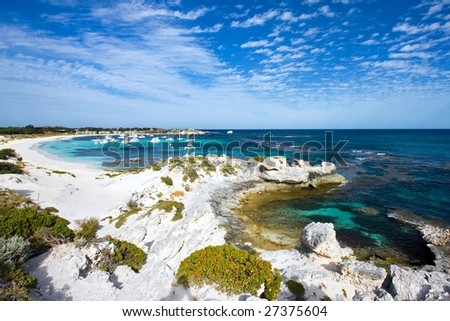 Scenic view over one of the beaches of Rottnest island - stock photo