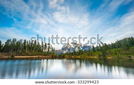 scenic view  reflection of mt Shuksan in picture lake,scenic view in Mt. Baker Snoqualmie National Forest Park,Washington,USA. - stock photo