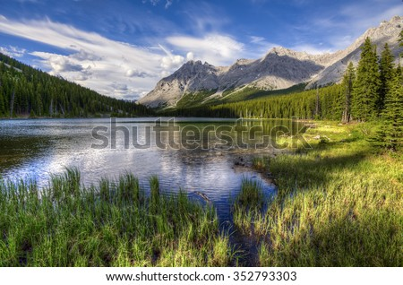Scenic views Elbow Lake area Kananaskis Country Alberta Canada - stock photo