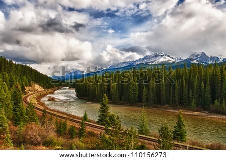 Scenic views of Banff National Park Alberta Canada - stock photo