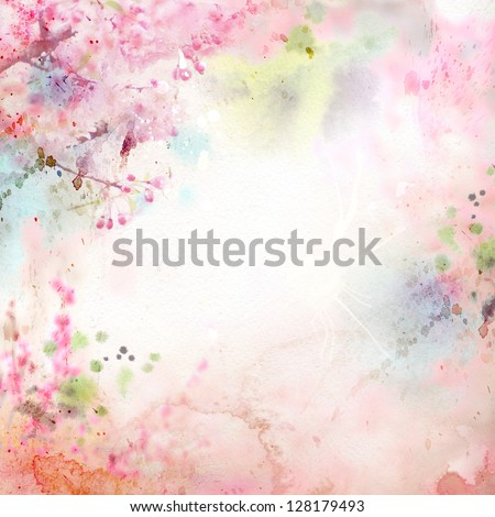 Scenic watercolor background, floral composition Sakura - stock photo