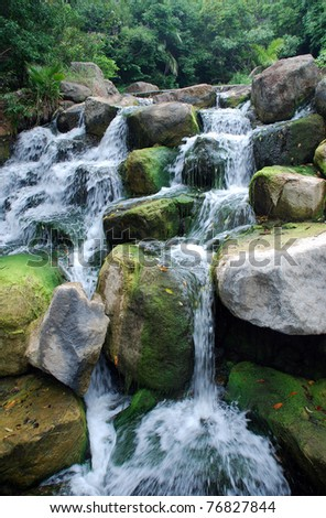 scenic waterfall in South Africa - stock photo