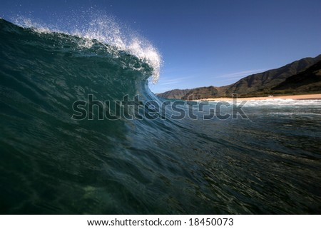 scenic wave breaking - stock photo