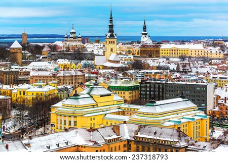 Scenic winter aerial view of the Old Town architecture in Tallinn, Estonia - stock photo