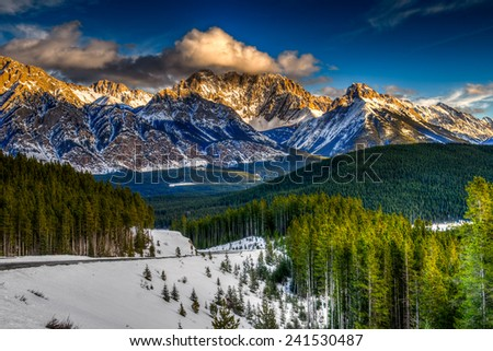 Scenic winter views of the Rocky Mountains, Peter Lougheed Provincial Park, Kananaskis Country Alberta Canada - stock photo