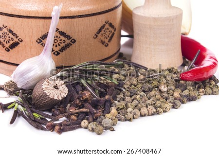scented fragrant spices and herbs - stock photo