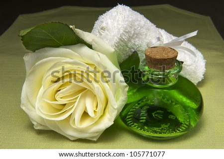 scented products for body care on colored background - stock photo