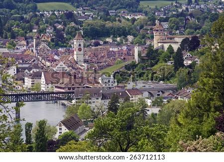 schaffhausen on the rhine in switzerland - stock photo