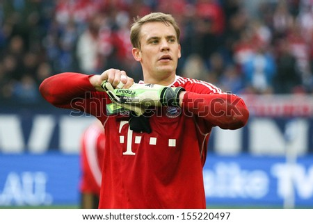 SCHALKE, GERMANY - SEP 21: Manuel Neuer (FC Bayern) during a Bundesliga match between FC Schalke 04 & FC Bayern Munich, final score 0-4, on September 21, 2013, in Schalke, Germany. - stock photo