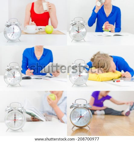 Schedule of the day collage. Breakfast, dinner, lunch, work, sport.  - stock photo
